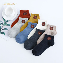 Boat socks women spring and summer new cotton women's socks Japanese cartoon bear short tube ladies socks cute  funny цены