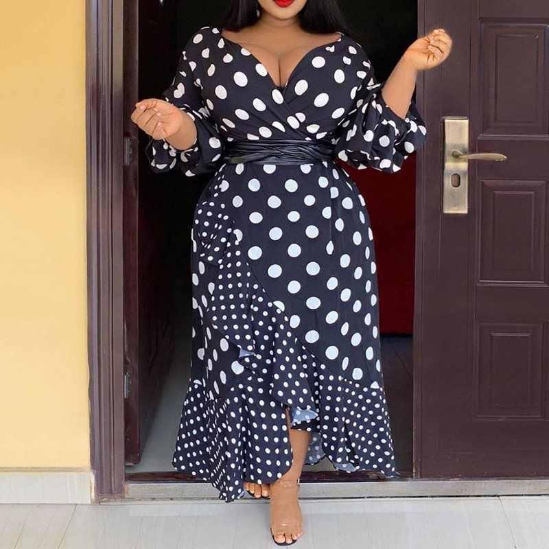 Размера плюс вечерние офисные женские винтажные черные повседневные женские длинные платья с высокой талией африканская Роба в горошек Falbala женское платье
