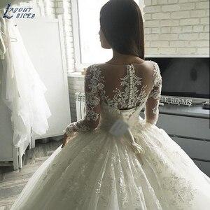 Image 2 - Nowa Gorgesous długa suknia balowa z rękawami koronkowe suknie ślubne luksusowa letnia sukienka 2020 suknia ślubna vestido De Noiva szata de mariee