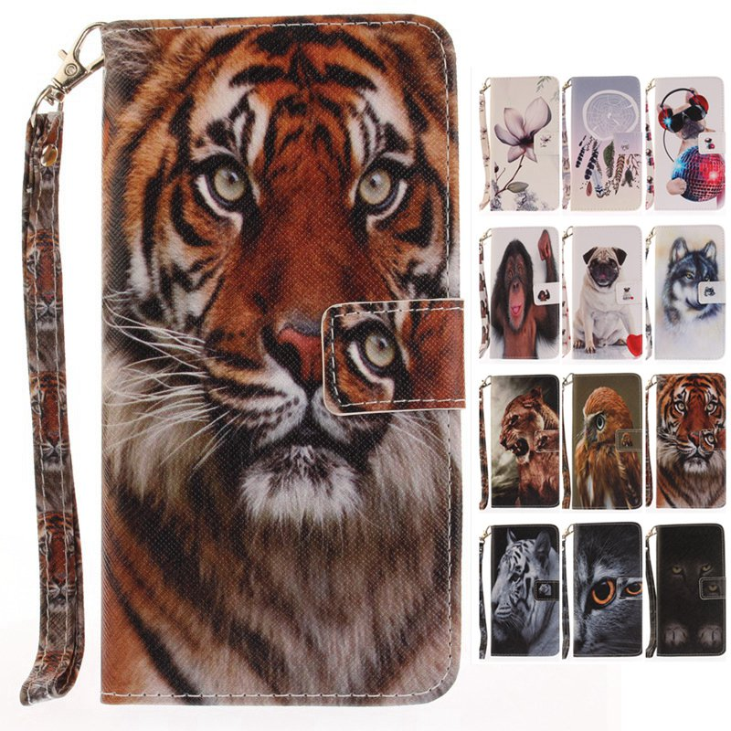 For iPhone 7 PLUS Wallet Case Luxury Stand Cases for iPhone 8 6S PU Leather Flip Cover Cat Dog Tiger Wolf Lion Monkey Eagle