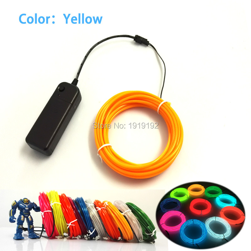 For 4Meters 3.2mm EL Wire Flexible Rope Tube Neon Cold Light Glow Car Party Decoration With 3V Steady on and Flashing Inverter