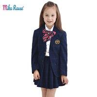 5pcs kids girls suits clothing sets fashion plaid clothes suit for girl formal coat uniform campus jackets party school costume