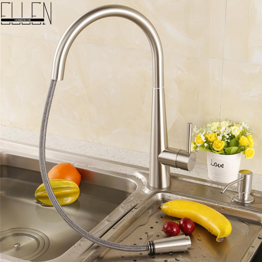 Brush Nickel Kitchen Sink Faucet Pull Out Hot and Cold Water Mixer Tap Spray Kitchen Faucet Solid Brass ELT910