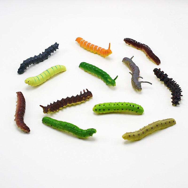 12 шт. разноцветные пластиковые модели гусениц милые насекомые черви хитрые приколы и розыгрыши подарок на Хэллоуин детские игрушки