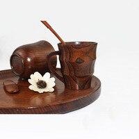 Simple Natural Eco friendly Wooden Water Beer Cup Tea/Milk/Breakfast Coffee Teacup Jujube Wood Vintage Tableware
