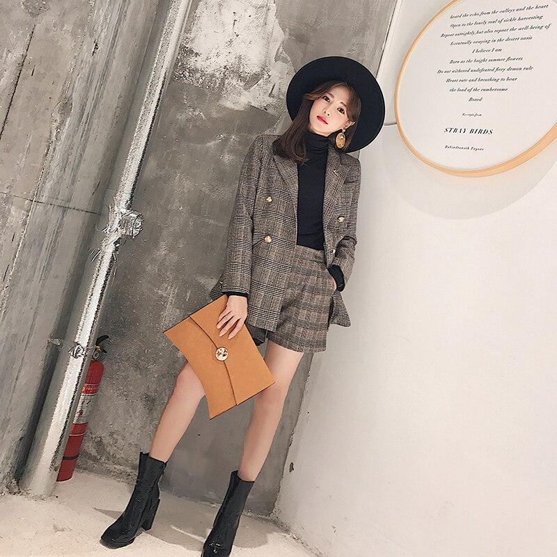 Plaid 1 Corea Nuevas E Dos Retro Piezas De Shorts Moda Otoño Pequeño Invierno Casual Chaqueta Mujeres Traje Del xwvXqTdE