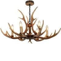 Nordic коричневый рога люстры спальня освещение Смола Свеча Блеск для гостиной современный потолочный подвесной светильник для столовой