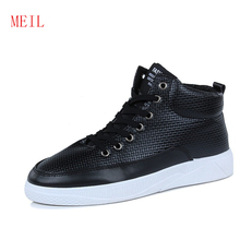 Mens Casual Shoes Hot Sale High Top Sneakers Leather Shoes for Men Fashion Retro Lace-Up Sneakers Men Black British Style Shoes