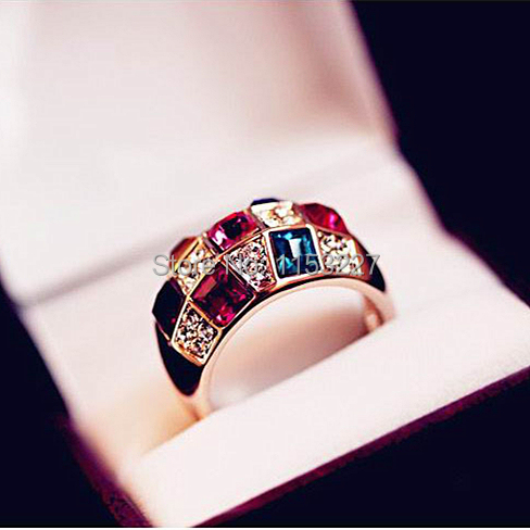 Shopping Festival new fashion sailor moon Diamante colorful crystal ring design women new jewelry