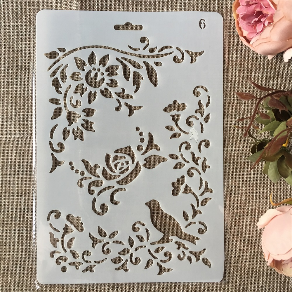 New 26cm Bird Flower DIY Craft Layering Stencils Painting Scrapbooking Stamping Embossing Album Paper Card Template
