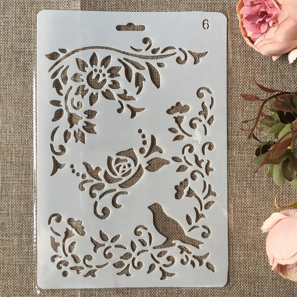 New 26cm Bird Flower DIY Craft Layering Stencils Painting Scrapbooking Stamping Embossing Album Paper Card Template