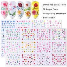 24 Flower Water Transfer Nail Stickers Decals Painted Art Decorative