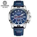 OCHSTIN Brand New Fashion Casual Man Male Chronograph Clock Military Army Sport Leather Strap Luxury Wrist Quartz Watch