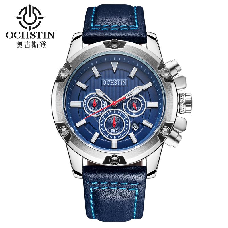 Prix pour OCHSTIN Marque Nouvelle Mode Casual Homme Mâle Chronographe Horloge Militaire Armée Sport Bracelet En Cuir De Luxe Poignet Quartz Montre