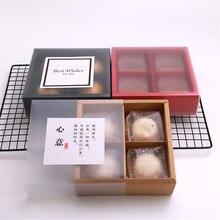 4 полости крафт Mooncake бумажная коробка с полупрозрачными крышками и вставками торт подарочная упаковка Свадьба День рождения принадлежности 10 наборов