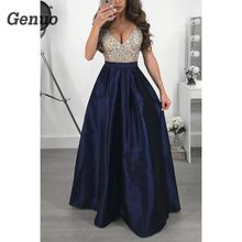 2018 Sexy V-Neck Patchwork Long Dress Elegant Women Formal Prom Party Maxi Dresses Ball Gown A-Line Vestidos De Genuo