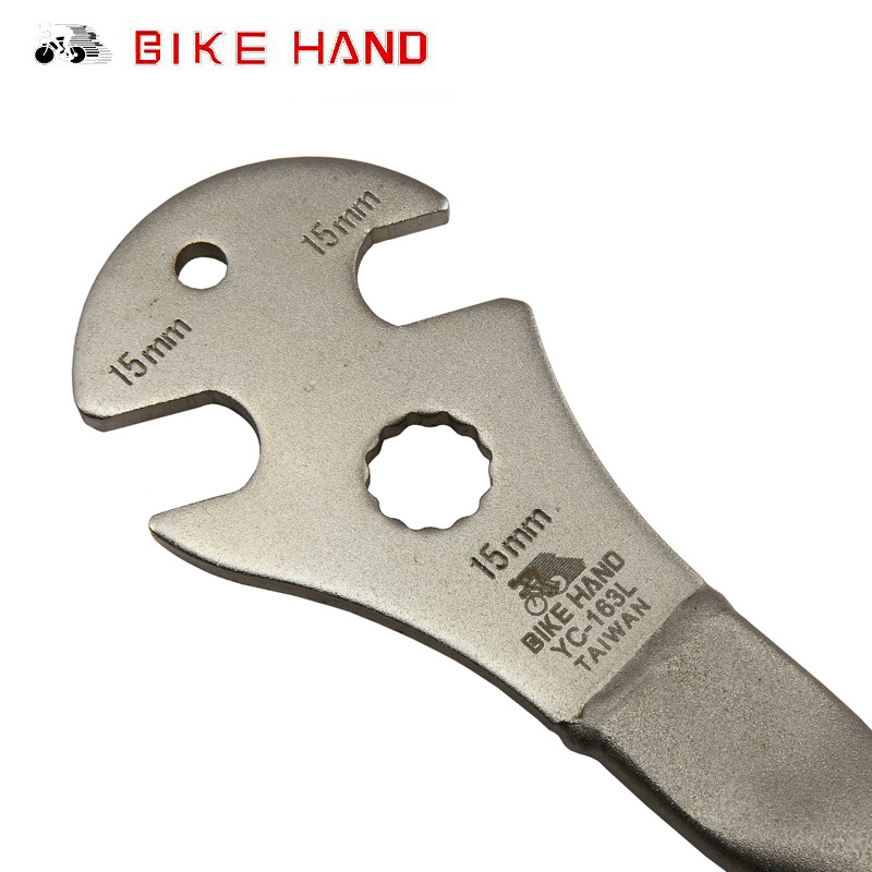 BIKEHAND Bicycle Foot Pedal Wrench Spanner Bike Repair Tool Alloy Steel Long Handle Professional Bike Cycling Tool 15mm YC-163L стенд 6 14100 ремонтный профи yc 100bh алюминиевый складной регулируемый bikehand