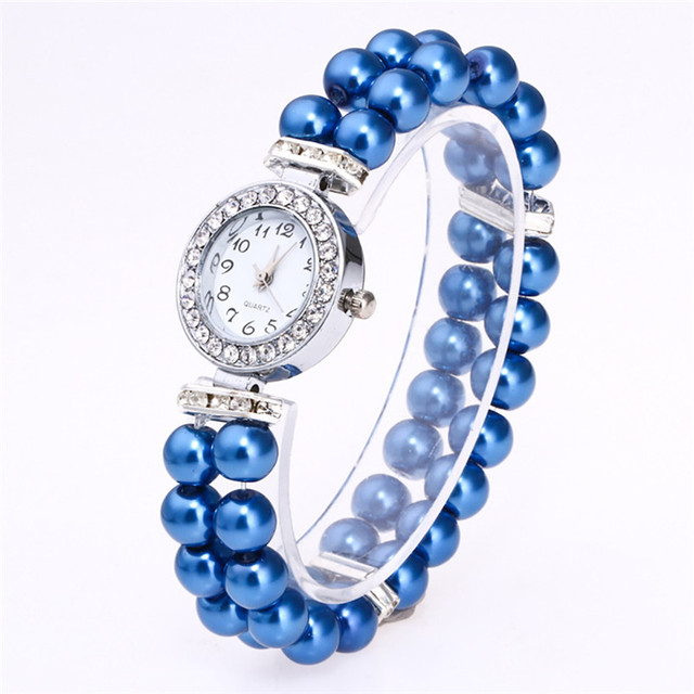 Fashion Simulated Pearl Strap Watch Women Rhinestone Small Dial Bracelet Watch Quartz Wrist Watch Relogio Feminino Clock