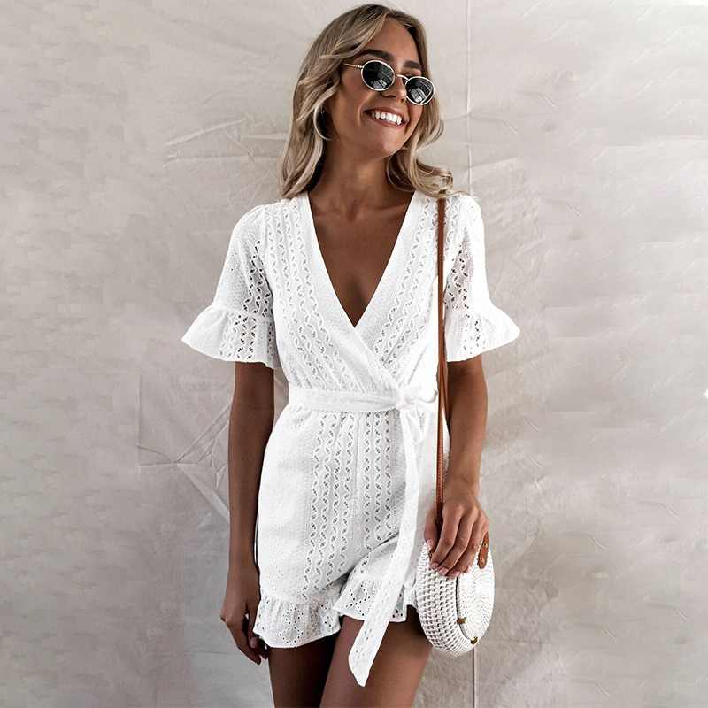 0963d2944b1e JaMerry Sexy white lace embroidery jumpsuit romper women Ruffled hollow out  boho holiday playsuit Elegant beach