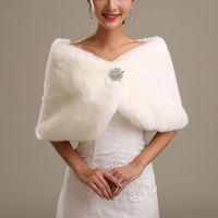 White Ivory Faux Fur Wedding Cape Wrap Shrug Shawl Bridal Coat