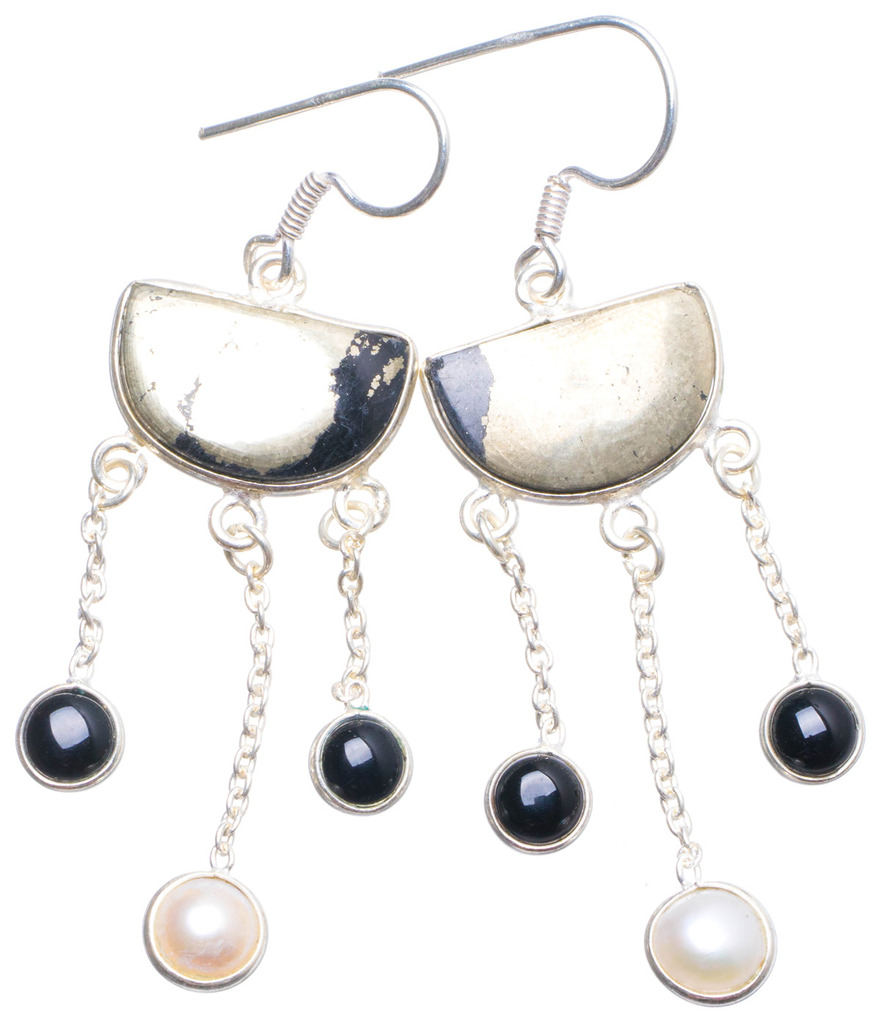 цена на Natural Apache Gold Stone,Black Onyx and River Pearl Unique 925 Sterling Silver Earrings 2.25