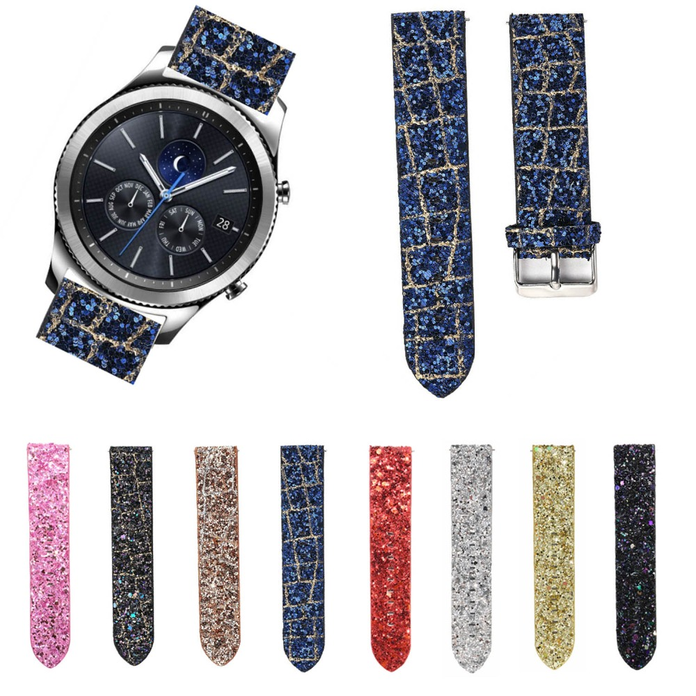 22mm Bling Shiny Glitter Christmas Bracelet for Samsung Gear S3 Band for Gear S3 Classic R770 S3 Frontier R760 Strap with Pins urvoi band for samsung galaxy gear s3 r760 r770 strap crazy horse vintage leather with closure classic design replacement 22mm