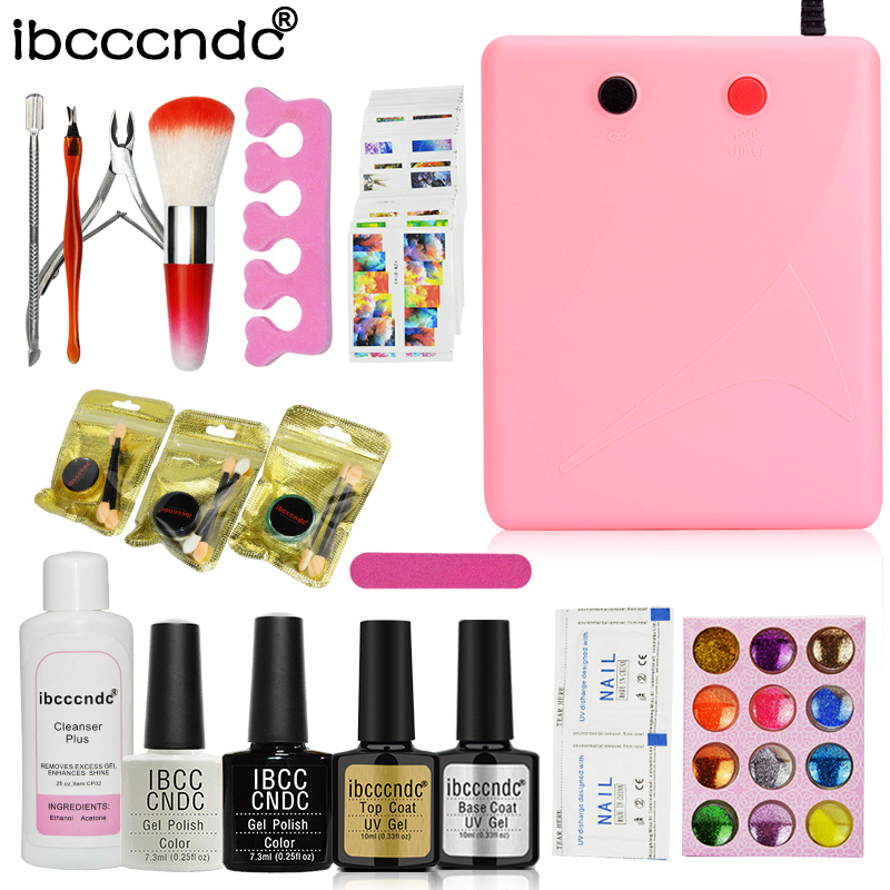 Nail Art Set Manicure Tools 36W UV Lamp 2 Colors Gel Nail Polish Base Top Coat Kit with Remover Mirror Powder 12 Colors Glitters встраиваемая газовая панель whirlpool gma 6411 ix