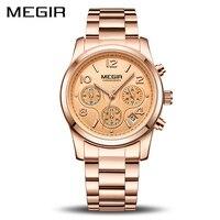 MEGIR Роскошные Кварцевые женские часы Relogio Feminino модные спортивные женские часы для влюбленных часы Топ бренд хронограф наручные часы 2057