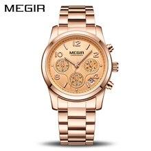 Женские кварцевые часы MEGIR, модные спортивные часы с хронографом для влюбленных, 2057