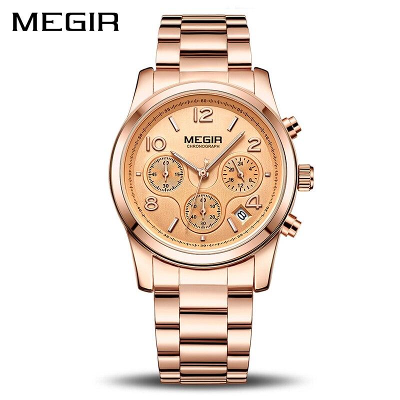 Reloj MEGIR de lujo de las mujeres del cuarzo reloj femenino de moda de deporte señoras amantes reloj marca cronógrafo reloj de pulsera 2057