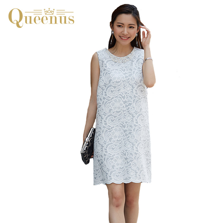 Queenus Women Lace Dress 2017 Elegant Sleeveless Party Dresses O Neck Patchwork V Split Draped Above