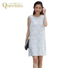Queenus Women Lace Dress 2017 Elegant Sleeveless Party Dresses O-Neck Patchwork V Split Draped Above Knee Women A-Line Dresses