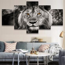 HD Printed Canvas Home Wall Art Decorative Framework Pictures 5 Pieces Animal Lion Paintings For Living Room Posters