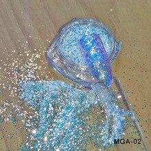1 caixa unicórnio prego brilho efeito pixel glitter lantejoulas camaleão iridescente prego brilho manicure maquiagem arte do prego decoração