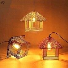 Pastoral Rattan Bird Cage Pendant Light Led Hand Knitted Creative Individual Living Room Restaurant Bedroom Balcony Lantern Lamp недорого