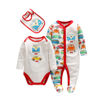 Baby Boy Clothes Set Newborn Baby Cotton Long Sleeve Car Desigh Bodysuit Bibs 3pcs Clothing Set