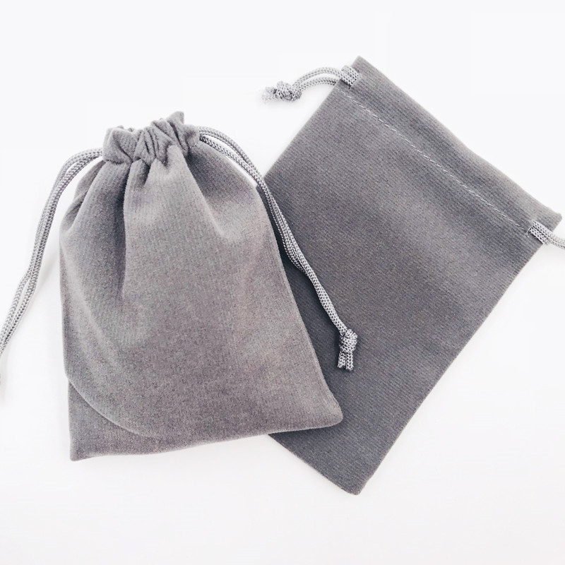 Us 18 09 23 Off 9x12cm 50pcs Gray Jewelry Bag Velvet Pouch Gift Bags With Drawstring Jewellery Packaging Whole Lots Pouches In