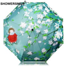 SHOWERSMILE Green Print Ladies Umbrella Female Patterned Umbrella Japanese Parasol Begonia Sun And Rain Women Flower Parapluie(China)