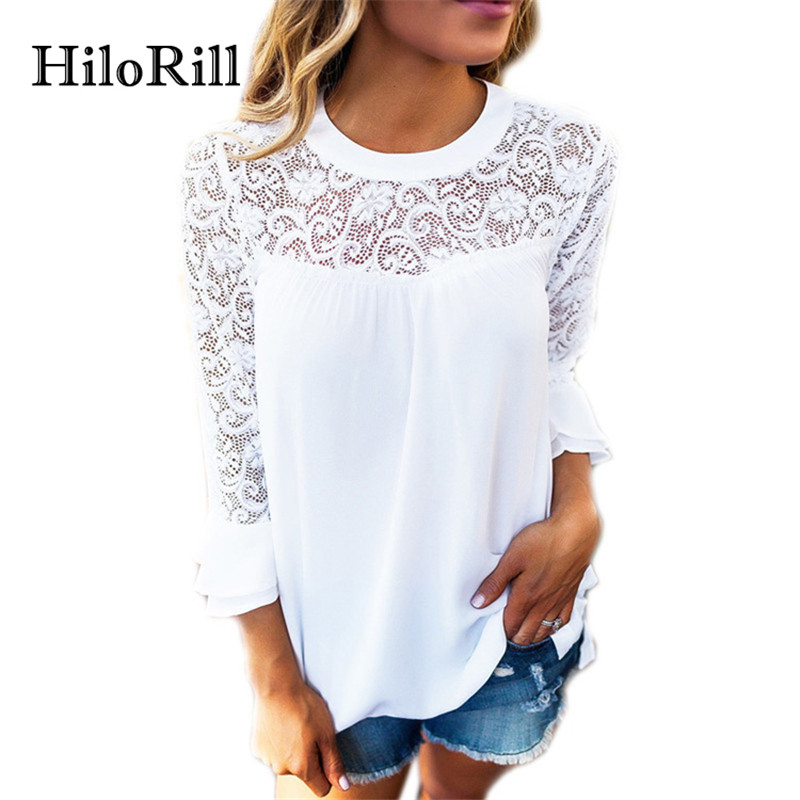 New Fashion Women Blouse Casual Flare Sleeve Lace Patchwork Chiffon Shirt Lace Crochet Top Tunic Blusas Mujer XL
