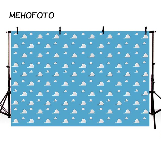 Blue Sky White Clouds Backdrop Cartoon Kids Birthday Party Decorations Toy Story Photo Booth Background Dessert Table Banne