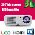 Full HD 1080 p de vídeo 3D LED TV USB VGA HDMI Proyector WIith alto brillo 2500 lumens, perfecto para cine en casa