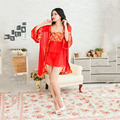 2017 New Sexy Lingerie Lace Red Kimono Intimate Sleepwear Robe Night Gown Babydoll Women