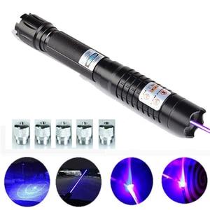 Image 1 - Pointeur Laser bleu brûlant lampe de poche vue torche 445nm 10000 m Laser focalisable brûler allumette bougie allumé pétard