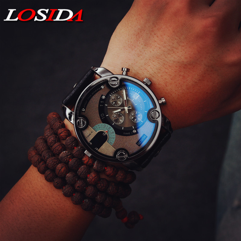 Losida Blue Glass Big Dial Black Leather Quartz Men Watches Fashion Casual Watch Sports Outdoor Military