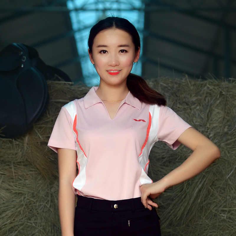 Varlion damski strój jeździecki jeździecki T-shirt koszulka POLO krótki rękaw odzieży rycerz osiem stóp długości.