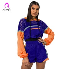 Adogirl Color Block Mesh Patchwork Casual 2 Piece Set Women Tracksuit Zipper Hoodies Long Sleeve Sweatshirt + Summer Shorts