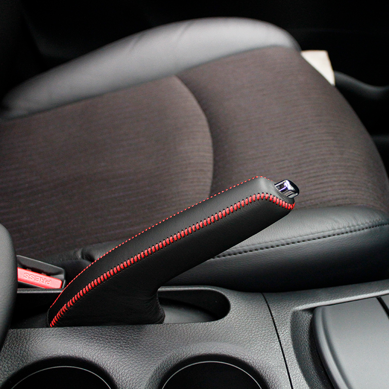 LS AUTO Top Genuine Leather Case For Handbrake For Nissan New Versa Hand Brake Cover Top Layer Leather Cover Handbrake