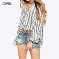 ORMELL Mulheres Teste Padrão de Paisley Do Vintage V Pescoço Blusas Camisas Artigo Camisas Femininas Retro Geométrica Manga Comprida Soltas Casual Branco Tops