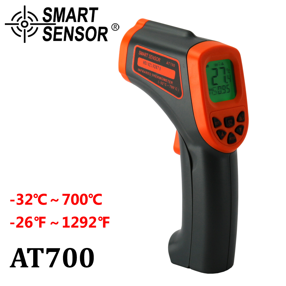AT700 Digital Infrared Thermometer -32~700 C Non-Contact laser IR Temperature Gun Pyrometer meter Aquarium Emissivity Adjustable 2017 bside btm21c infrared thermometer color digital non contact ir laser thermometer k type 30 500 led