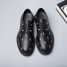 New winter men's shoes British Style zipper bright surface wave point leisure fashion shoes joker male leather shoes